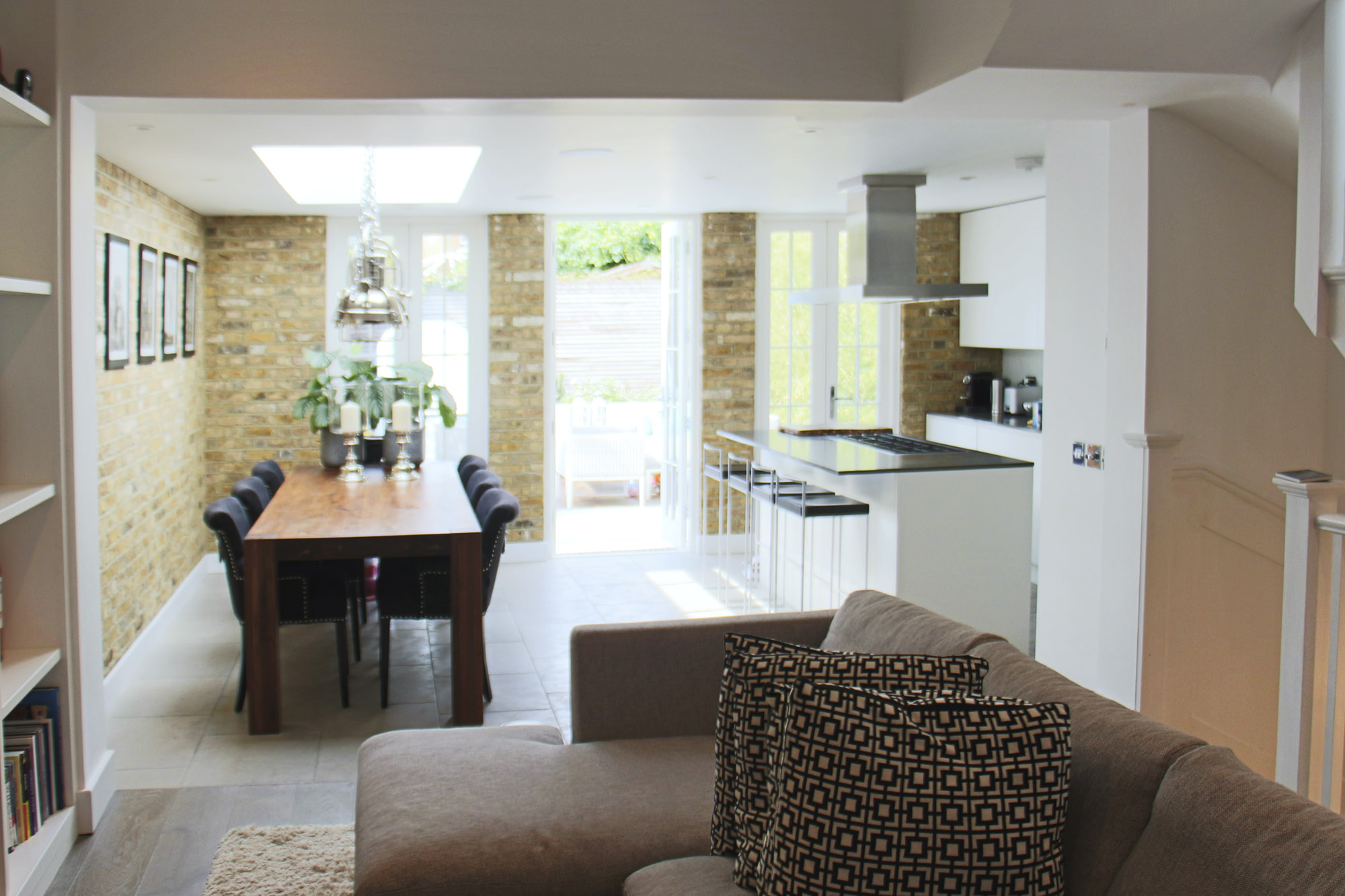 - marchini-architecture.com, - Putney, - loft extension, - basement extension, - rear extension, - front extension, - contemporary cottage, - interior brick wall, - open plan living dining, Miele kitchen