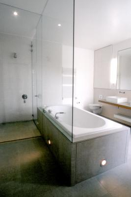 - marchini-architecture.com, - Barnes, - master bathroom, - free standing bath, - built in joinery, - frameless glass shower enclosure