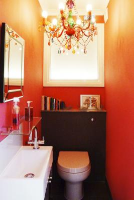 - marchini-architecture.com, - Clapham, - quirky cloakroom, - pink cloakroom, - guest WC
