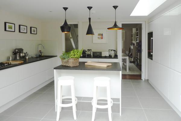 - marchini-architecture.com, - kitchen extension, - modern kitchen, -modern light fittings, -kitchen island, - Putney