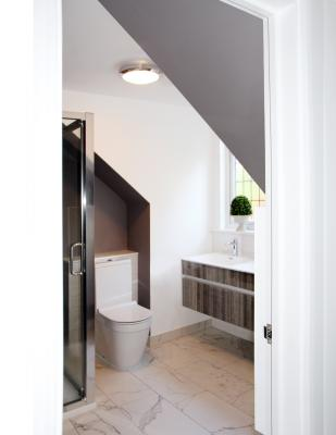 - marchini-architecture.com, - Woking, - loft extension, - shower room, - sloped ceiling
