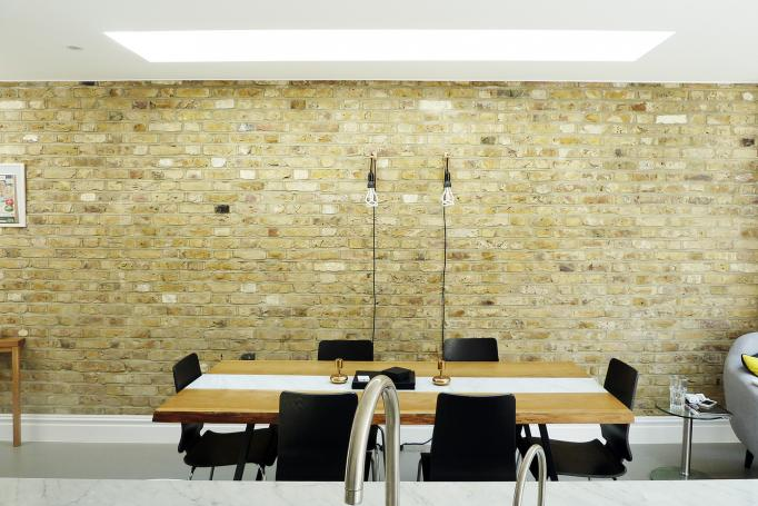 - marchini-architecture.com, - Balham, - rear extension, - side extension, - internal brick wall, - dining area, -skylight