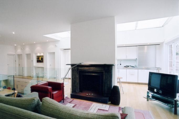 - marchini-architecture.com, - Barnes, - basement extension, - glass railing, - contemporary staircase, - contemporary interior, - Bulthaup kitchen