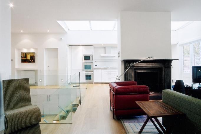 - marchini-architecture.com, - Barnes, - basement extension, - glass railing, - contemporary staircase, - contemporary interior, - Bulthaup kitchen, - skylight