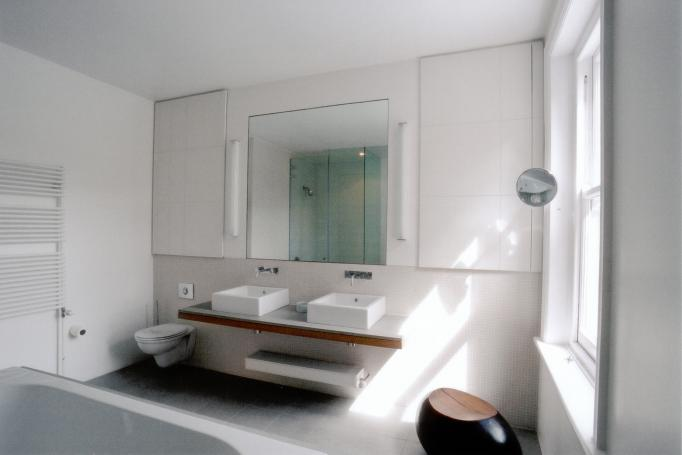 - marchini-architecture.com, - Barnes, - master bathroom, - built in joinery, - frameless glass shower enclosure