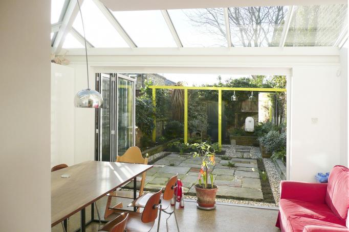 - marchini-architecture.com, - Clapham, - rear extension, - glass roof, - garden room, - sliding folding doors