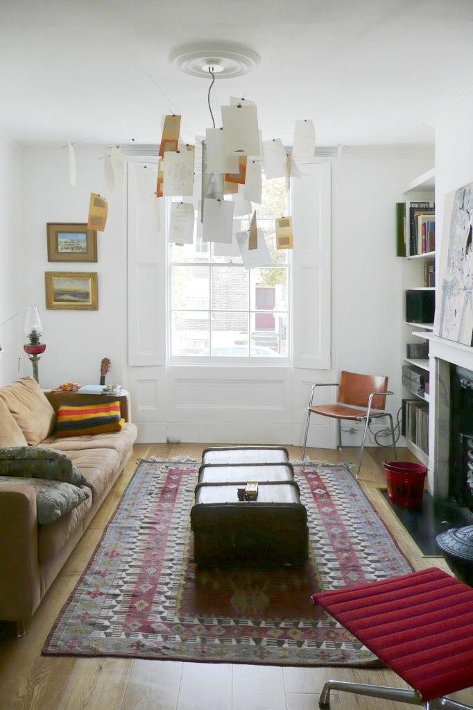 - marchini-architecture.com, - Clapham, - quirky living room, - eclectic, - vintage coffee table, - Ingo Maurer light