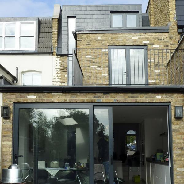 - marchini-architecture.com, - Balham, - rear extension, - side extension, - loft extension, - basement extension, - contemporary skylights, - sliding folding doors, - roof terrace