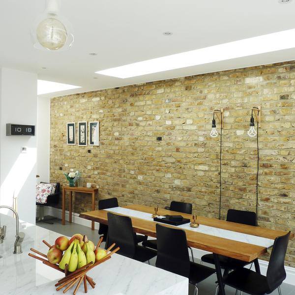 - marchini-architecture.com, - Balham, - rear extension, - marble kitchen island, - skylights, - side extension, - internal brick wall, - dining area
