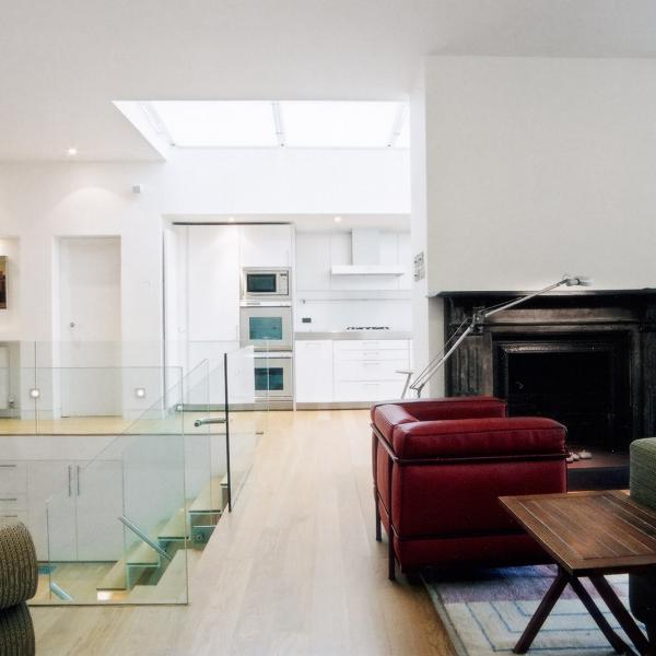 - marchini-architecture.com, - Barnes, - basement extension, - glass railing, - contemporary staircase, - contemporary interior, - Bulthaup kitchen, - skylight