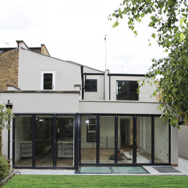 - marchini-architecture.com, - rear extension, - sliding folding doors, - basement walk-over glass skylight, - Putney